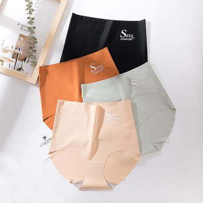 莫代尔内裤女士冰丝性感中高腰一片式无痕石墨烯纯棉抗菌内档透气