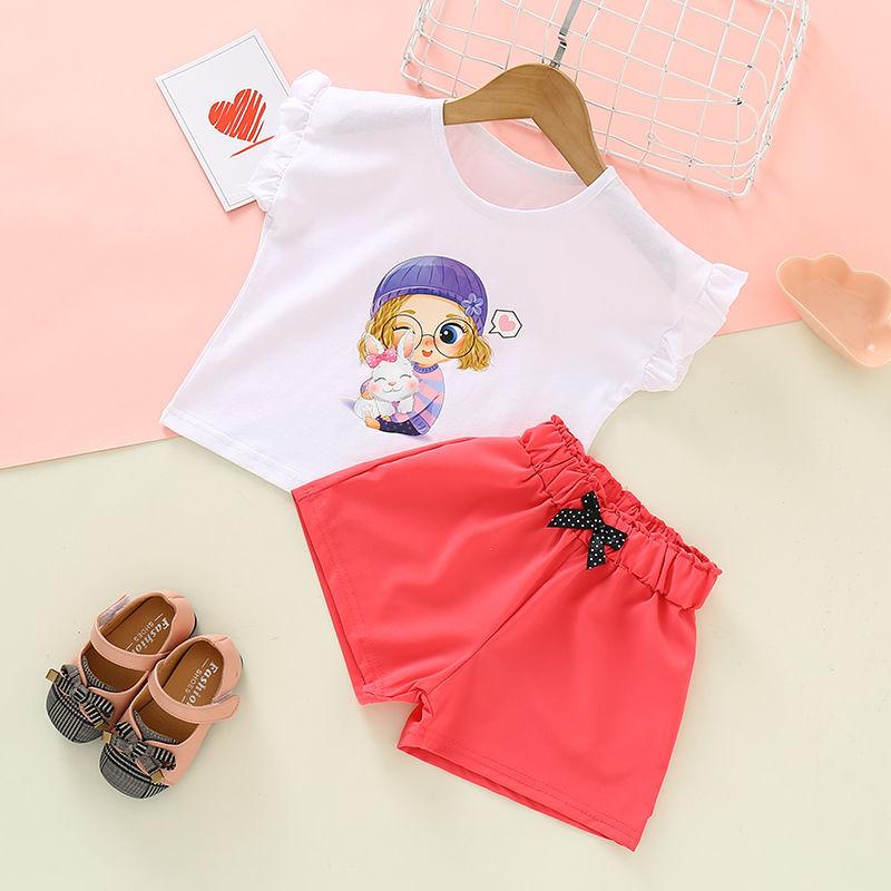 女童纯棉套装夏季短袖儿童两件套网红