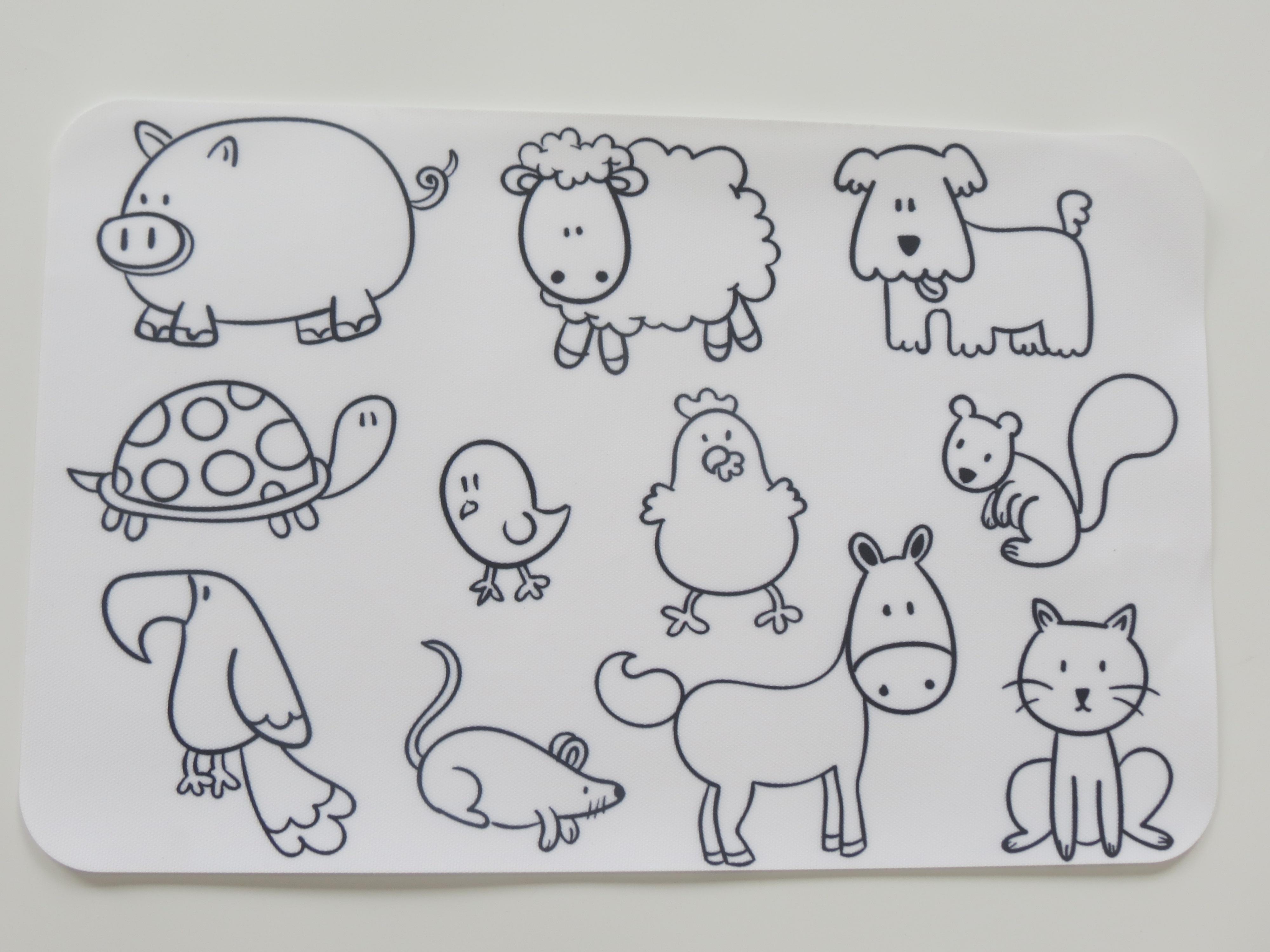 创意儿童玩具益智涂鸦画布餐垫轻松擦洗