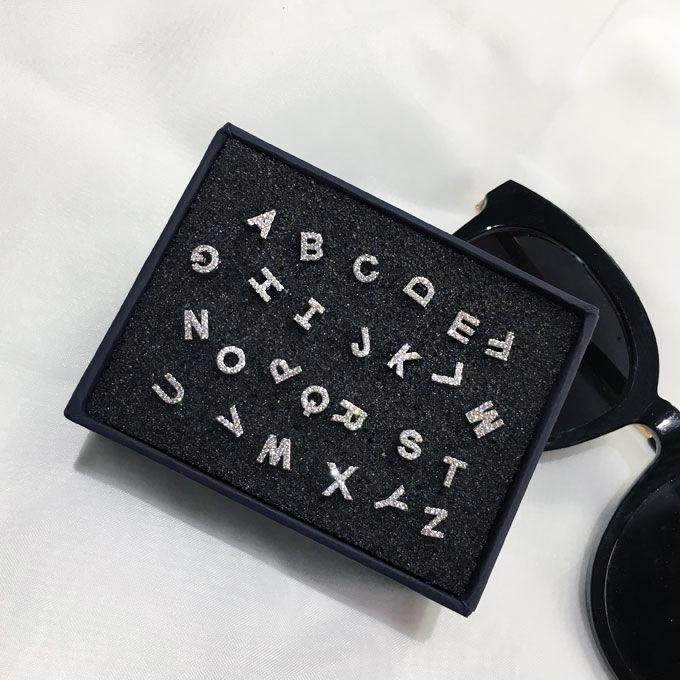 字母耳钉女镶钻锆石简约气质