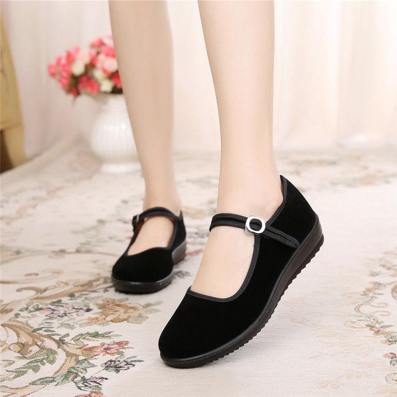 2021新款酒店工作鞋女黑一代老北京布鞋