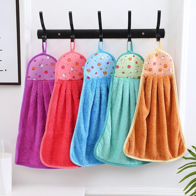 4条擦手巾挂式可爱强力吸水加厚