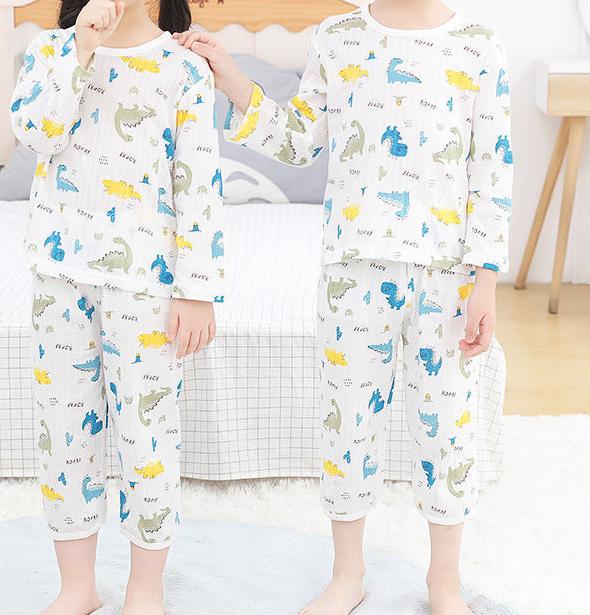 南极人夏季纯棉儿童睡衣套装