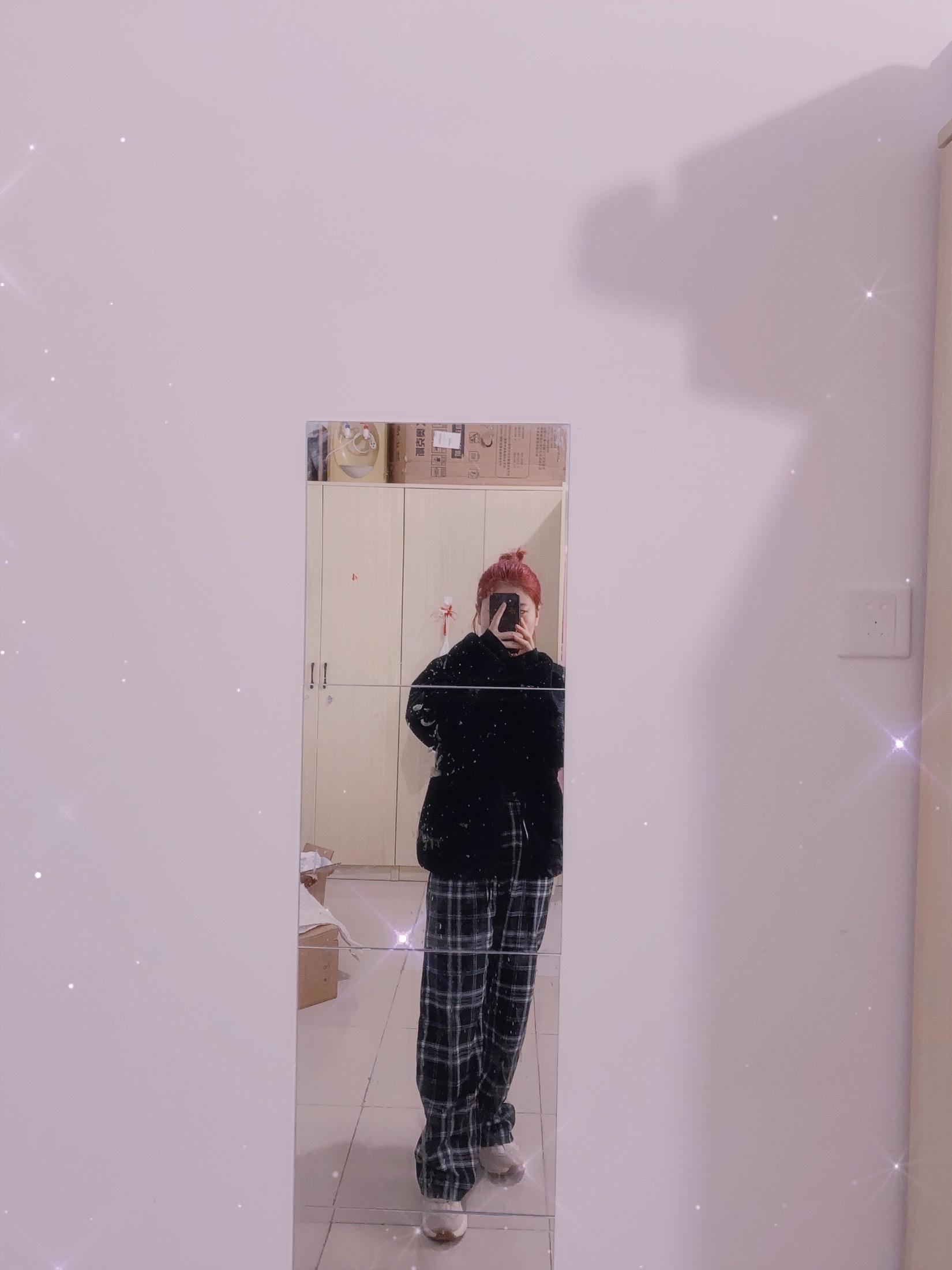 新款黑白格子裤女高腰垂感宽松直筒长裤