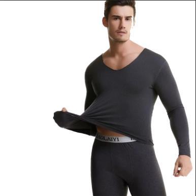 新男士自发蓄热无痕高弹力保暖内衣套装秋衣