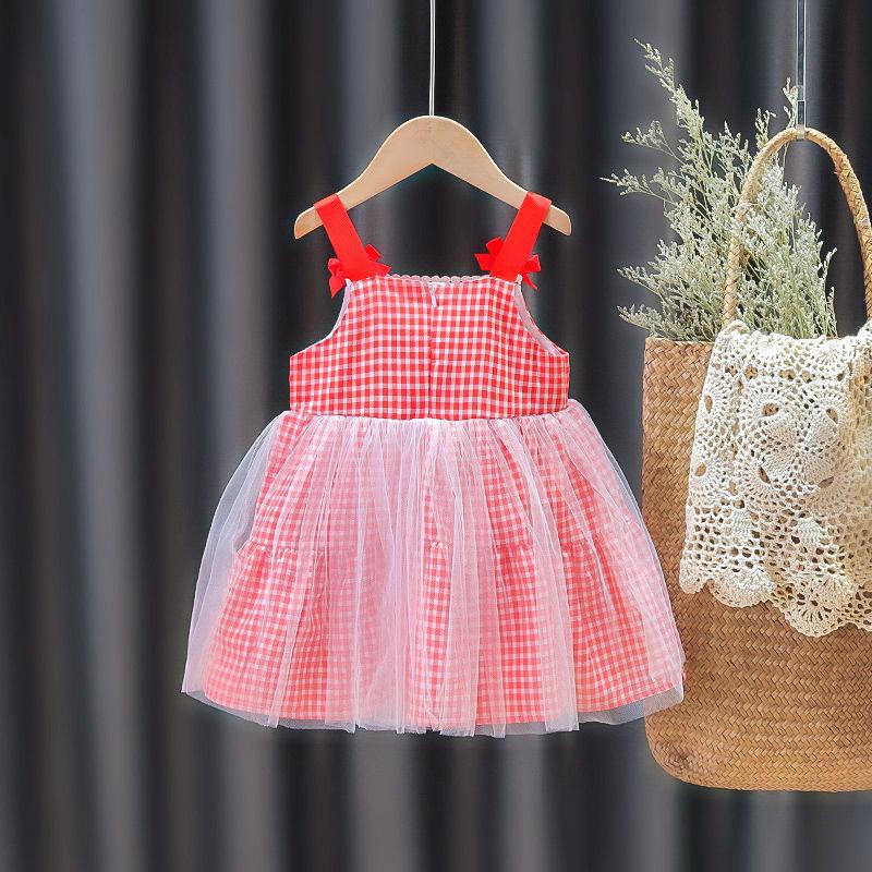 女宝宝新款网纱公主连衣裙夏装红格子吊带裙