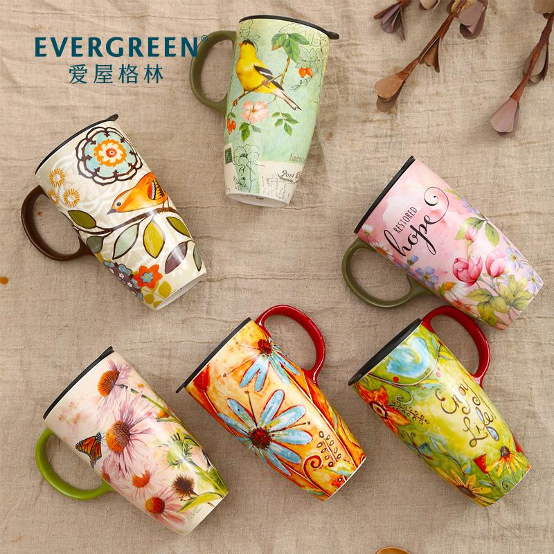 爱屋格林大容量马克杯子陶瓷带盖咖啡创意早餐杯家用水杯定制情侣