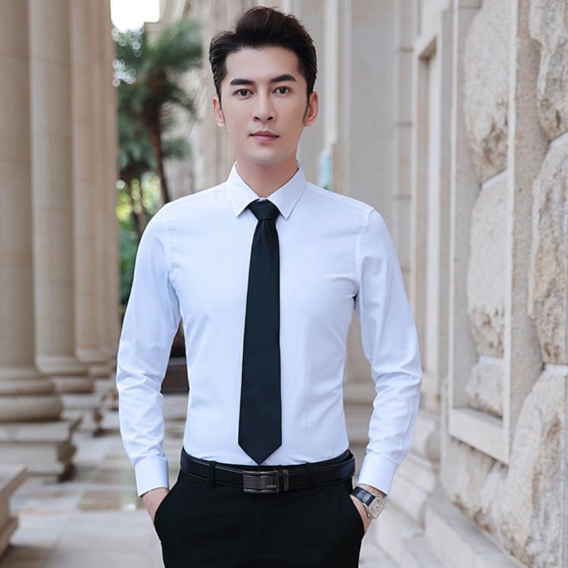长袖白衬衫男士商务正装宽松韩版潮流帅气黑色休闲工装短袖衬衣寸