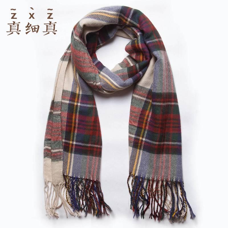 真细真 仿羊绒毛线围巾女冬季韩国学生围巾 格子百搭加厚保暖