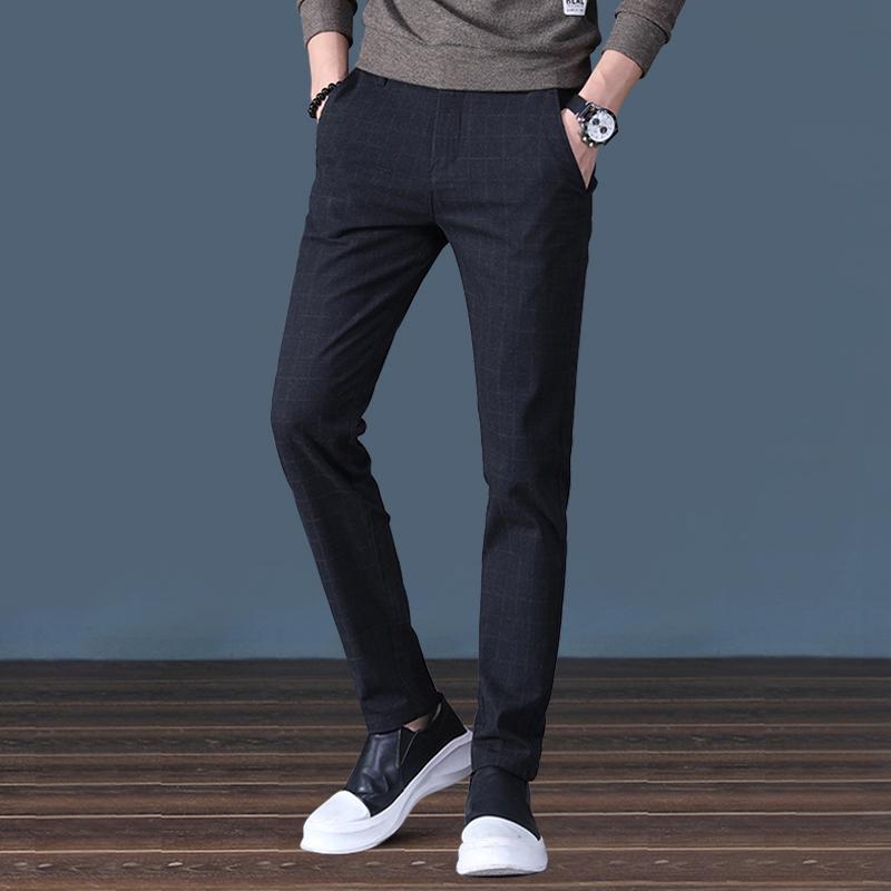秋冬季男士休闲修身小脚西裤商务直筒宽松工装韩版潮流加绒长裤子