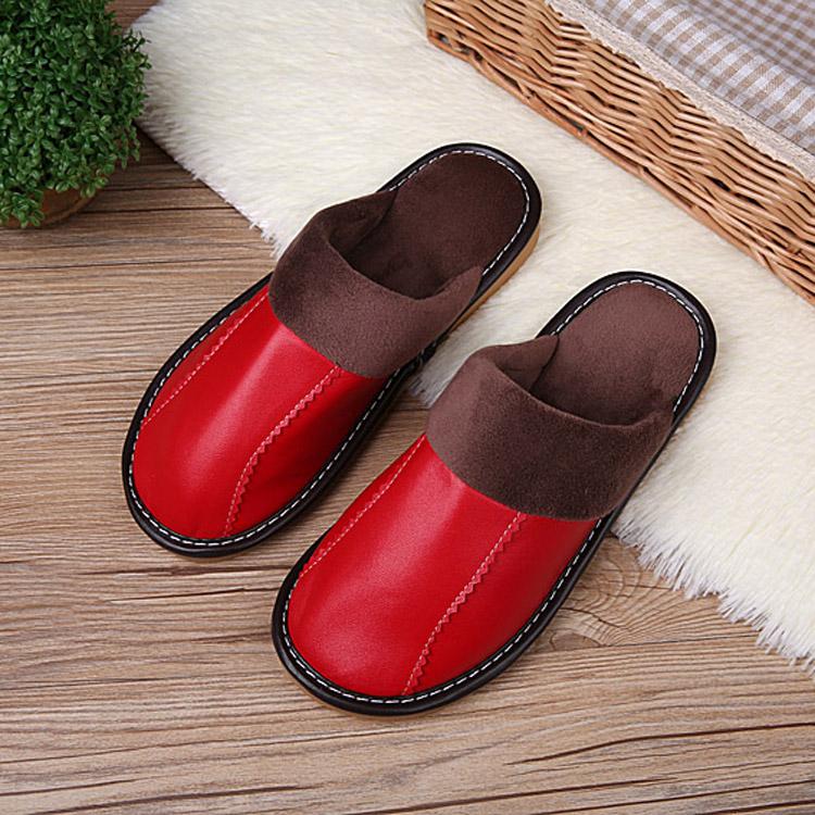 海宁皮拖鞋秋冬季居家男女保暖真皮拖鞋防滑牛筋底室内棉拖鞋