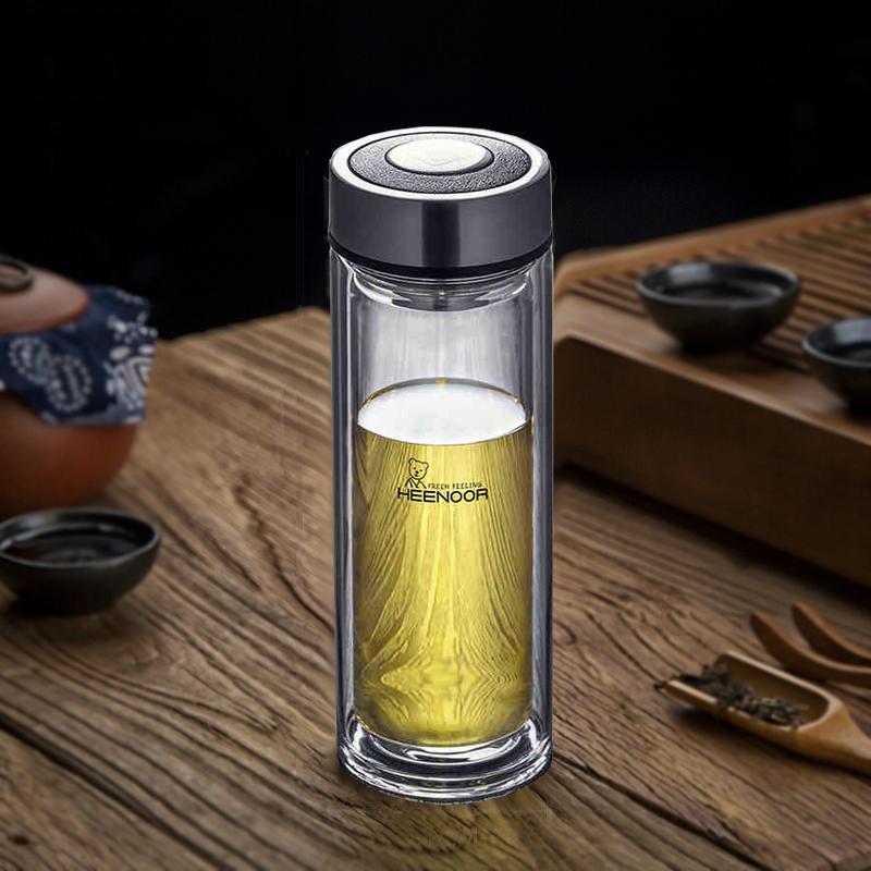希诺玻璃杯茶杯 双层防摔西诺水杯便携男士茶叶杯子过滤 高档商务