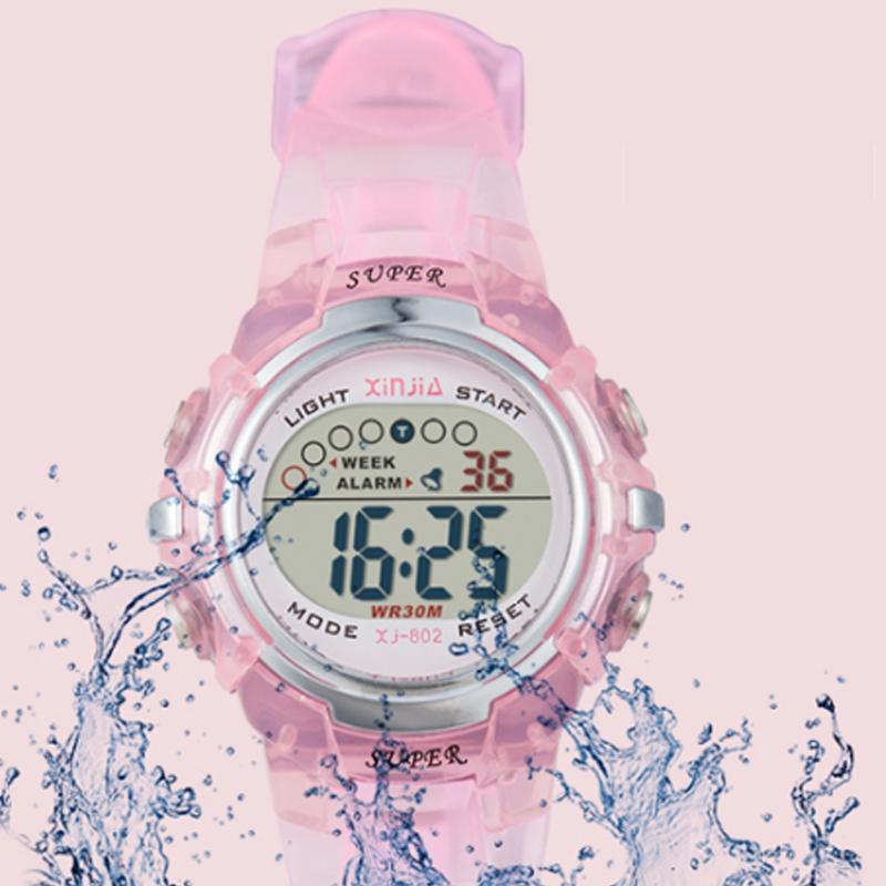 儿童手表男孩女孩防水夜光电子表 可爱女童小学生游泳果冻手表潮