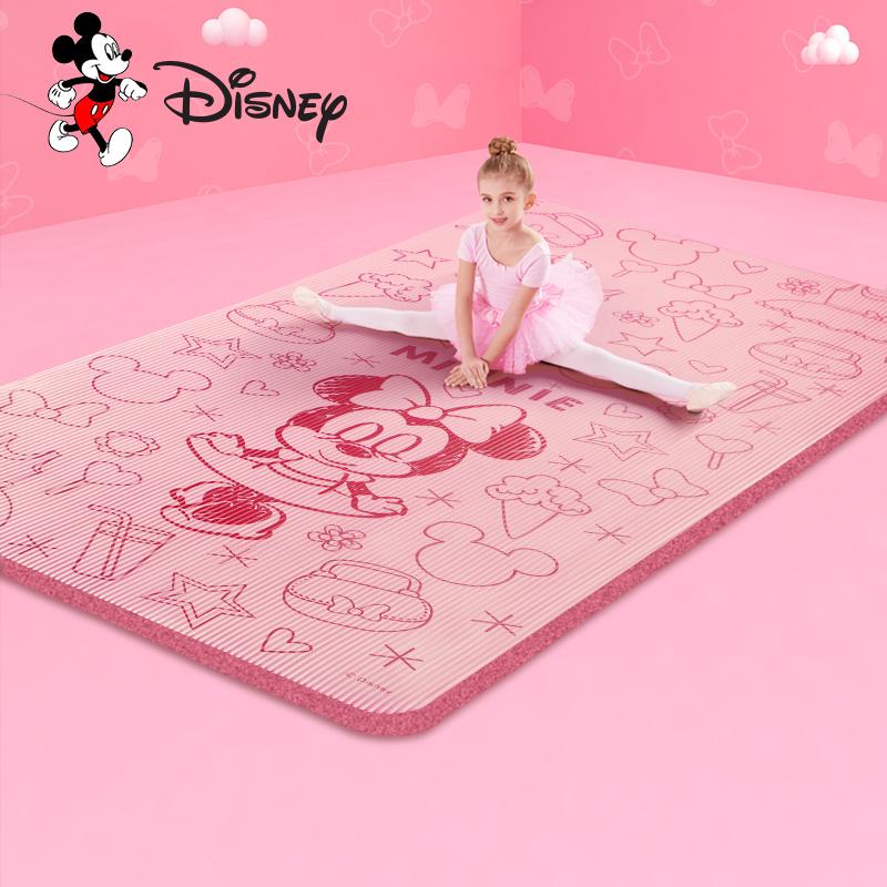 迪士尼儿童瑜伽垫防滑加厚加宽加长女孩初学健身舞蹈练功家用地垫