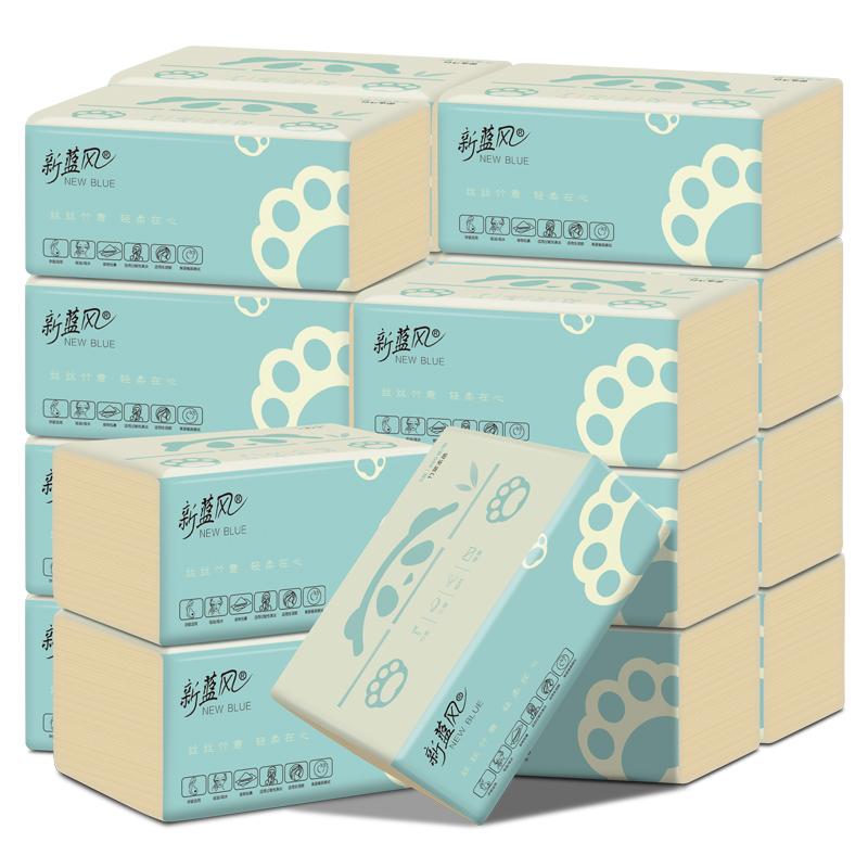 新蓝风本色婴儿大号抽纸家用实惠装餐巾纸面巾纸卫生纸巾18包整箱