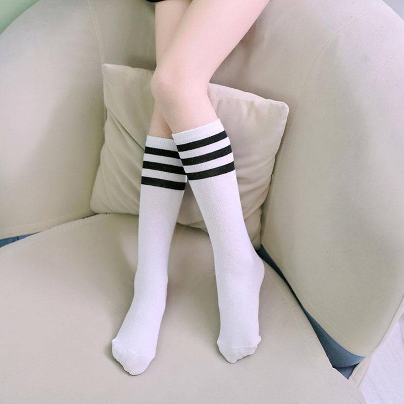 【2双装】夏男女童中筒袜条纹棉儿童长筒袜过膝宝宝高筒袜足球袜