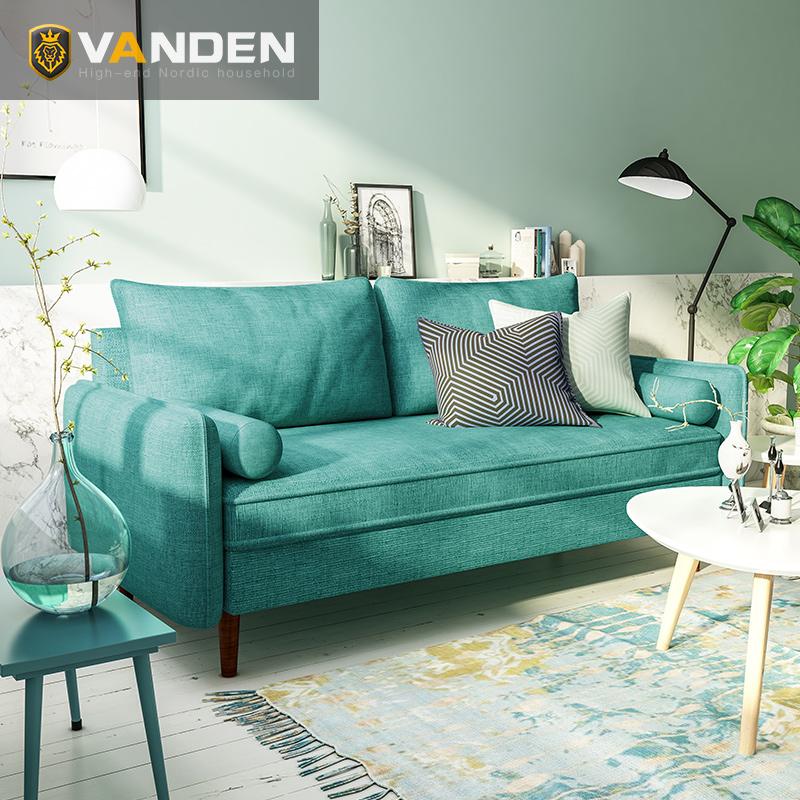 北欧布艺沙发小户型沙发小客厅乳胶双三人组合套装简约北欧风沙发