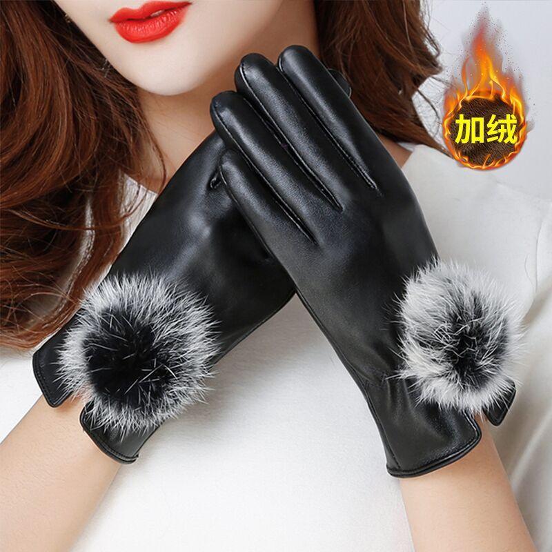 皮手套女冬天保暖触屏男冬骑行防水防风加厚加绒可爱女士手套开车