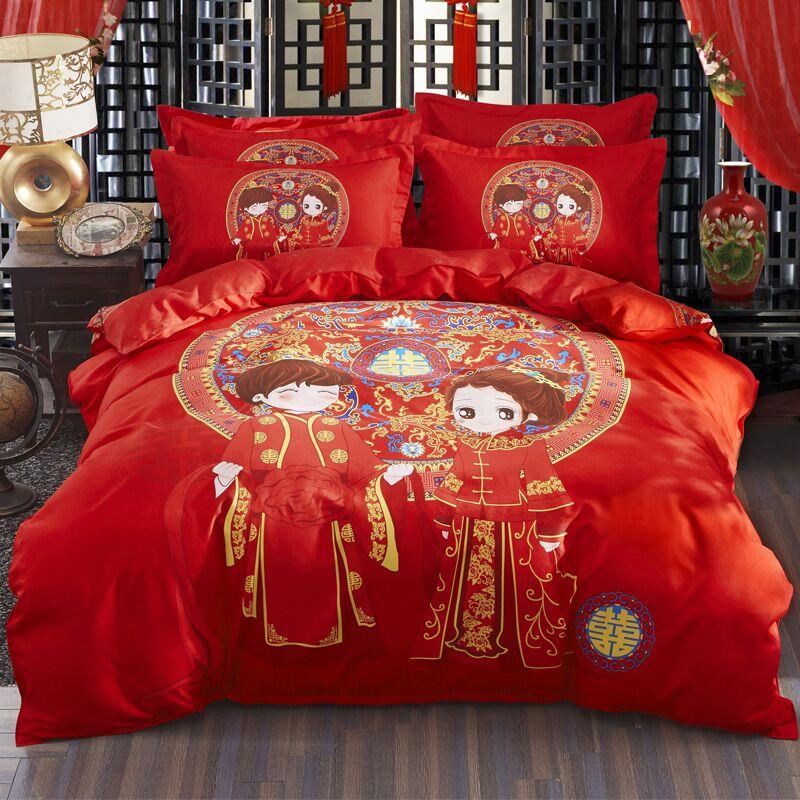 纯棉四件套婚庆大红磨毛套装
