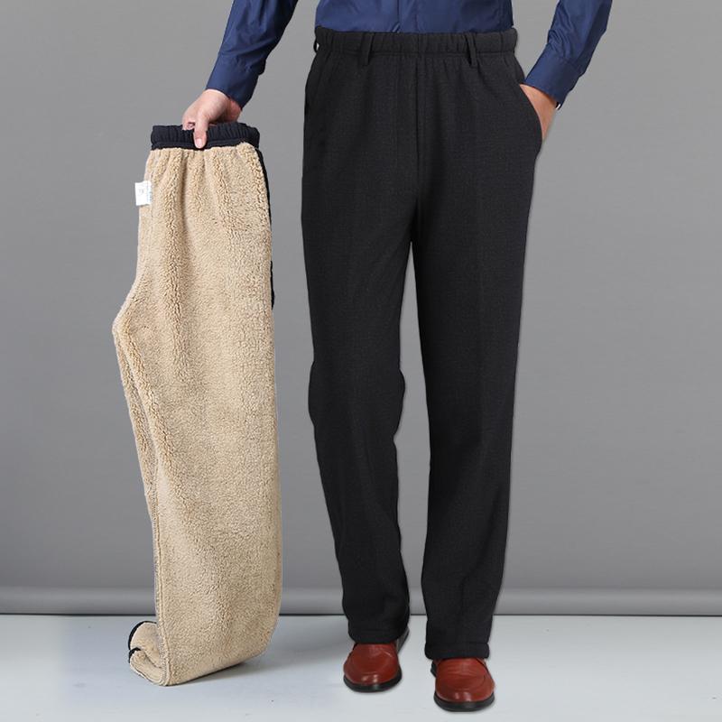 羊羔绒冬季男士加绒加厚中老年松紧腰男裤子老人棉裤爸爸休闲外穿