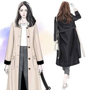 风衣女中长款秋季2020流行韩版新款小个子宽松过膝两面穿双面外套