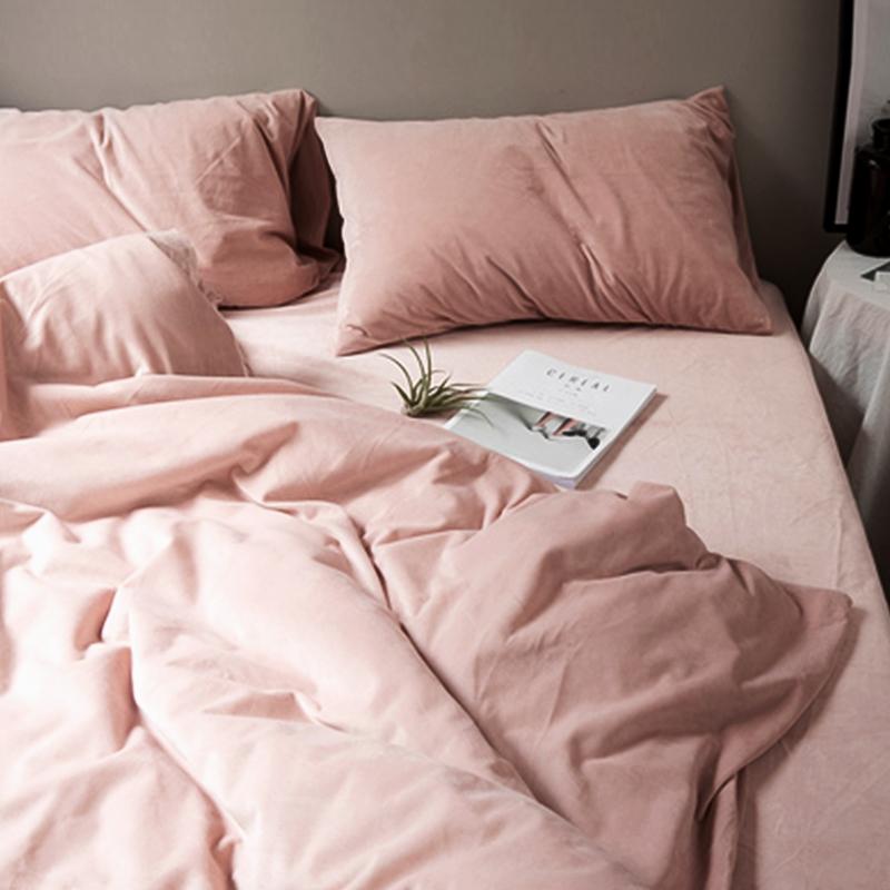 床上天鹅绒四件套冬季珊瑚绒法莱绒床单被套水晶法兰绒床笠三件套
