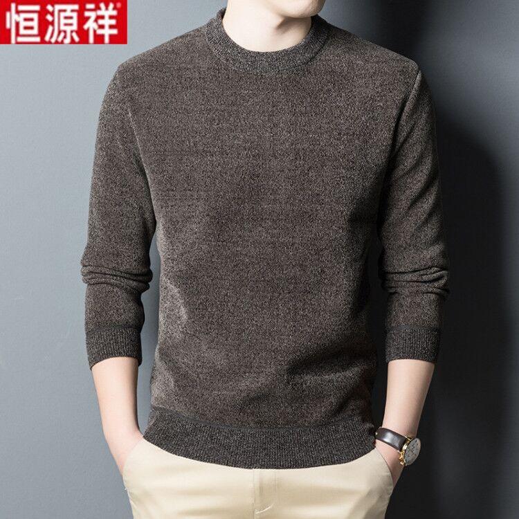 中青年男士长袖t恤男冬季新款加绒加厚圆领印花雪尼尔体恤上衣男