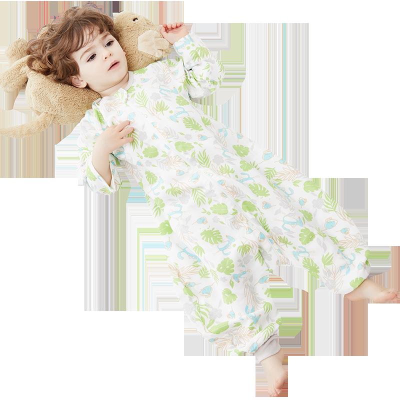 纱布睡袋婴儿春秋薄款分腿宝宝幼儿童小孩睡衣防踢被神器四季通用