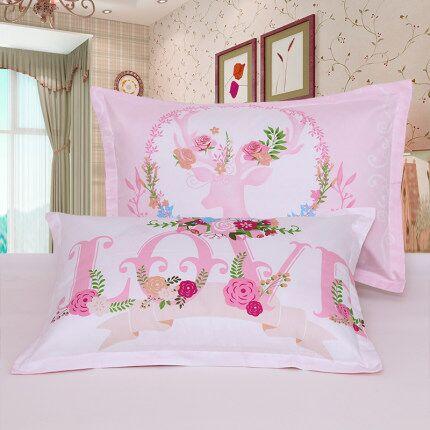 枕套100%纯棉枕芯套单人48x74学生成人新品全棉大号枕头套一对装