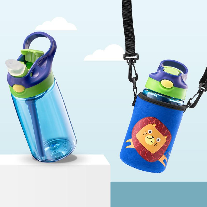 儿童吸管水杯夏季天男女宝宝幼儿园小学生防摔背带可斜挎便携水壶