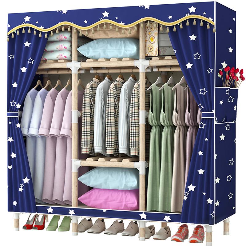 衣柜简易布衣柜实木加固经济型组装挂衣衣橱家用宿舍收纳柜单双人