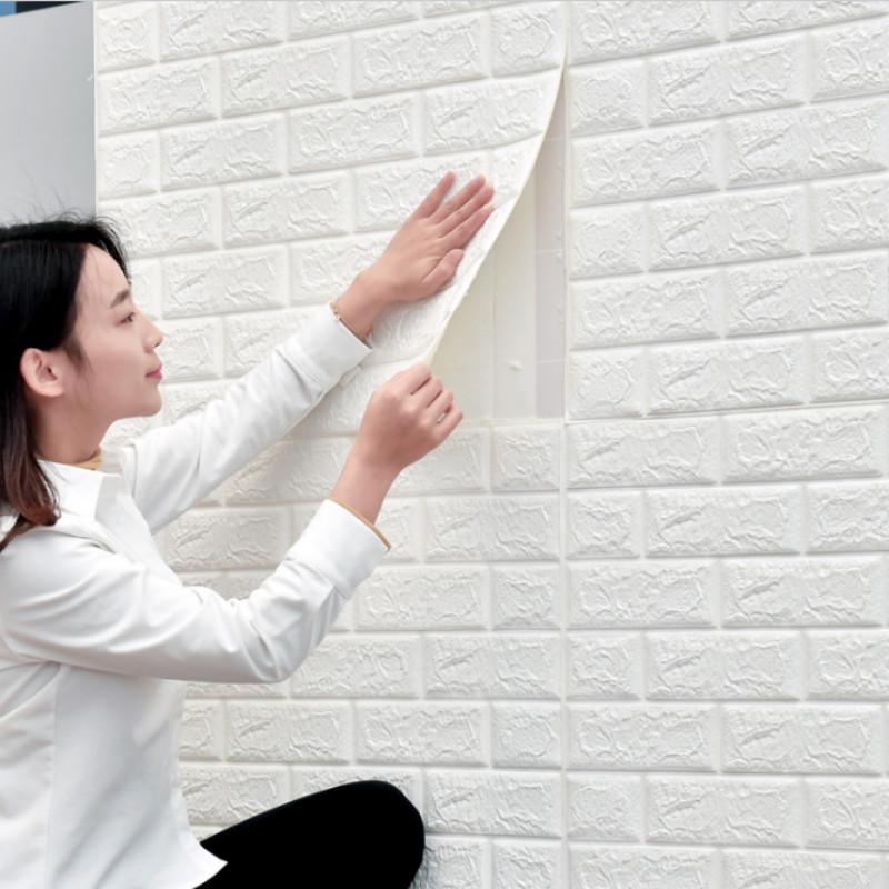 大理石纹立体3D泡沫墙纸客厅卫生间纯色防水防潮硅藻泥自粘墙贴纸