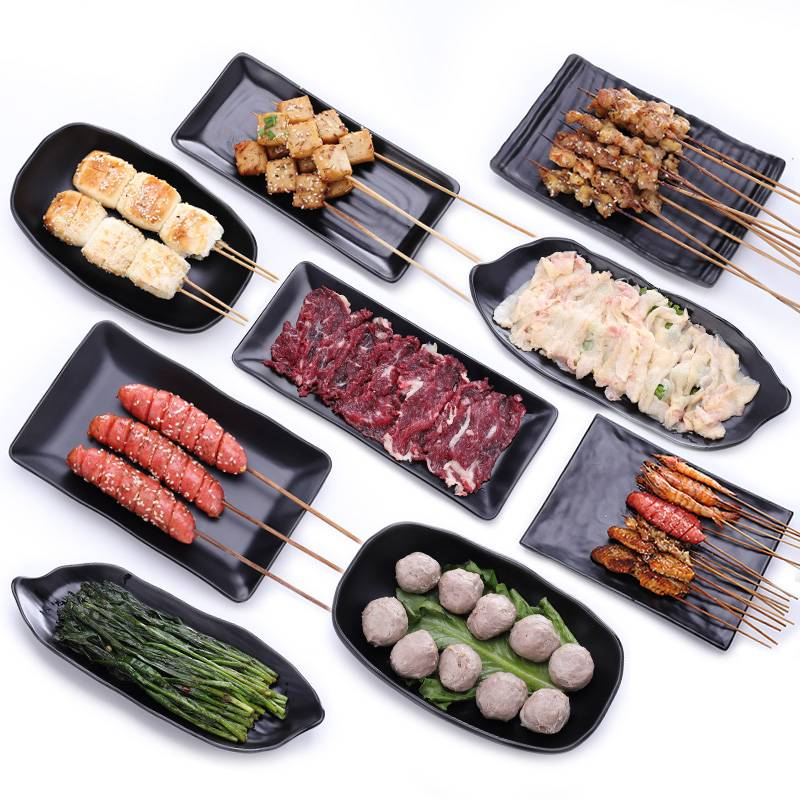 烧烤店专用盘子长方形密胺黑色塑料餐具商用自助餐火锅盘子配菜盘