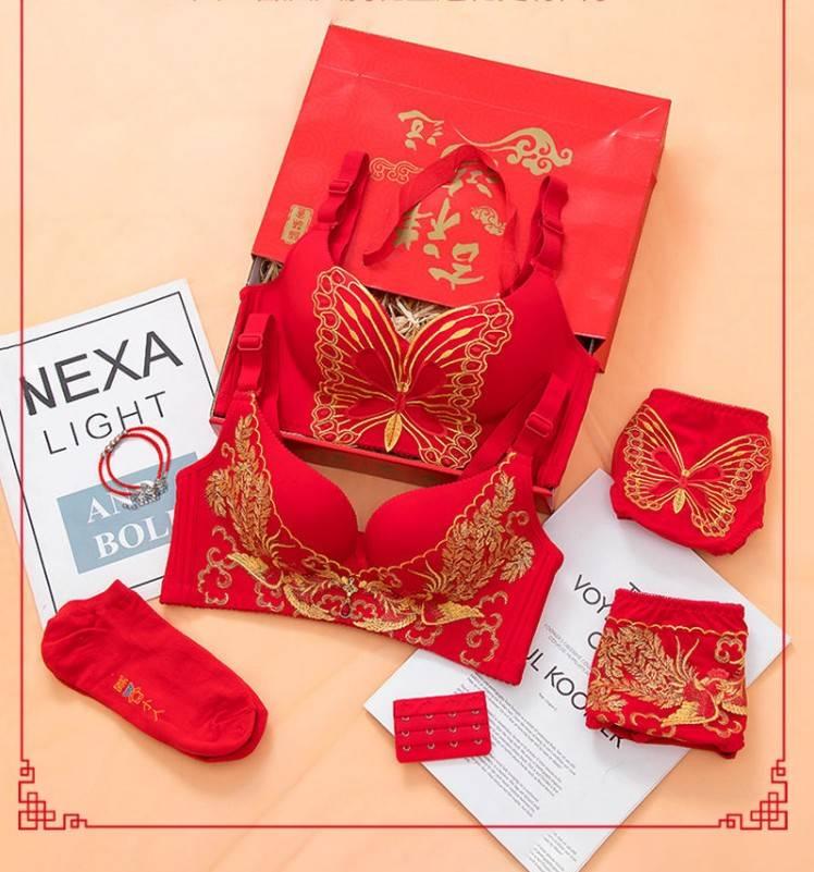 新款大红色内衣套装本命年结婚新娘文胸女无钢圈小胸聚拢刺绣胸罩