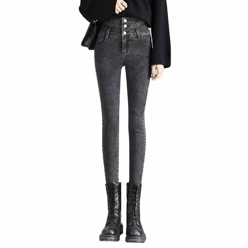 高腰弹力显瘦显高牛仔裤女修身2021春季新款九分长裤铅笔小脚裤潮