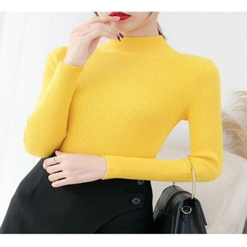 2020秋冬季新款半高领套头短款毛衣女内搭修身紧身长袖打底针织衫