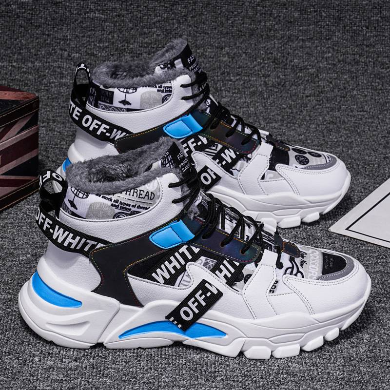 高帮老爹男鞋子冬季加绒棉鞋韩版潮流百搭板鞋男士增高运动休闲鞋
