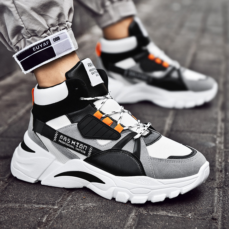 春季百搭增高小白男鞋子复古老爹鞋潮鞋韩版运动休闲鞋板鞋高帮鞋