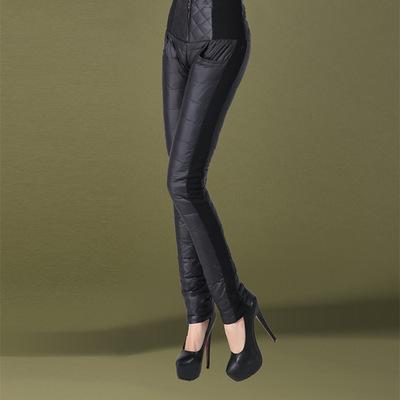 冬新品棉裤羽绒裤女外穿修身双面白鸭绒靴裤显瘦羽绒裤加厚小脚裤
