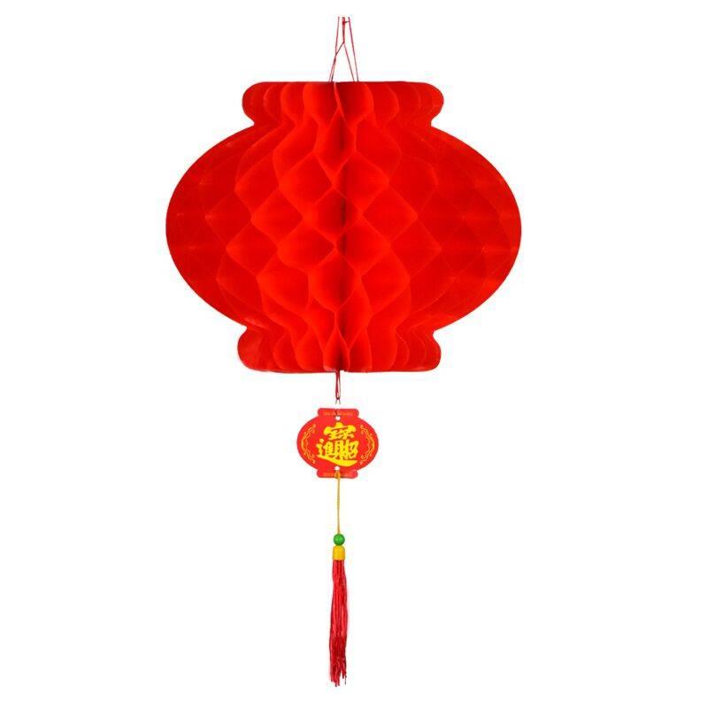 元旦春节大红灯笼户外防水绸布铁口广告植绒福字灯笼节日灯笼挂件