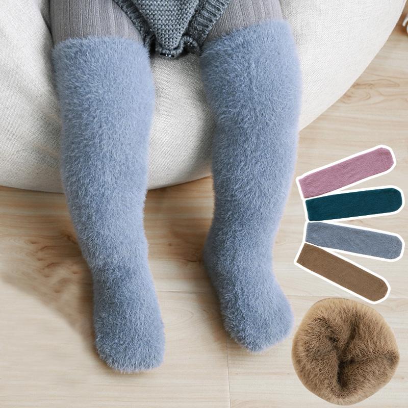 婴儿长筒袜秋冬季过膝大腿加绒加厚冬天款不勒腿宝宝无跟中筒袜子
