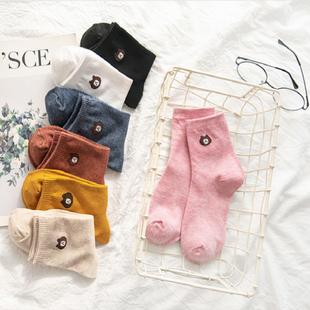 袜子女船袜春秋可爱小熊短袜韩国日系女士袜子长棉袜街头中筒袜潮