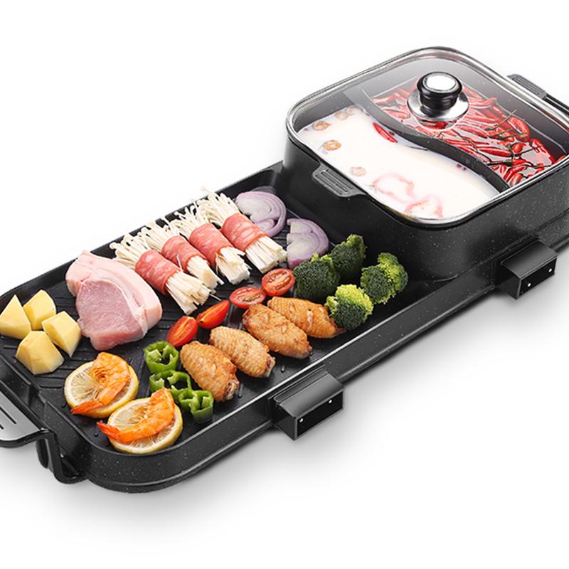 麦饭石电烧烤炉家用无烟电烤盘不粘烤肉机涮烤火锅一体锅鸳鸯锅