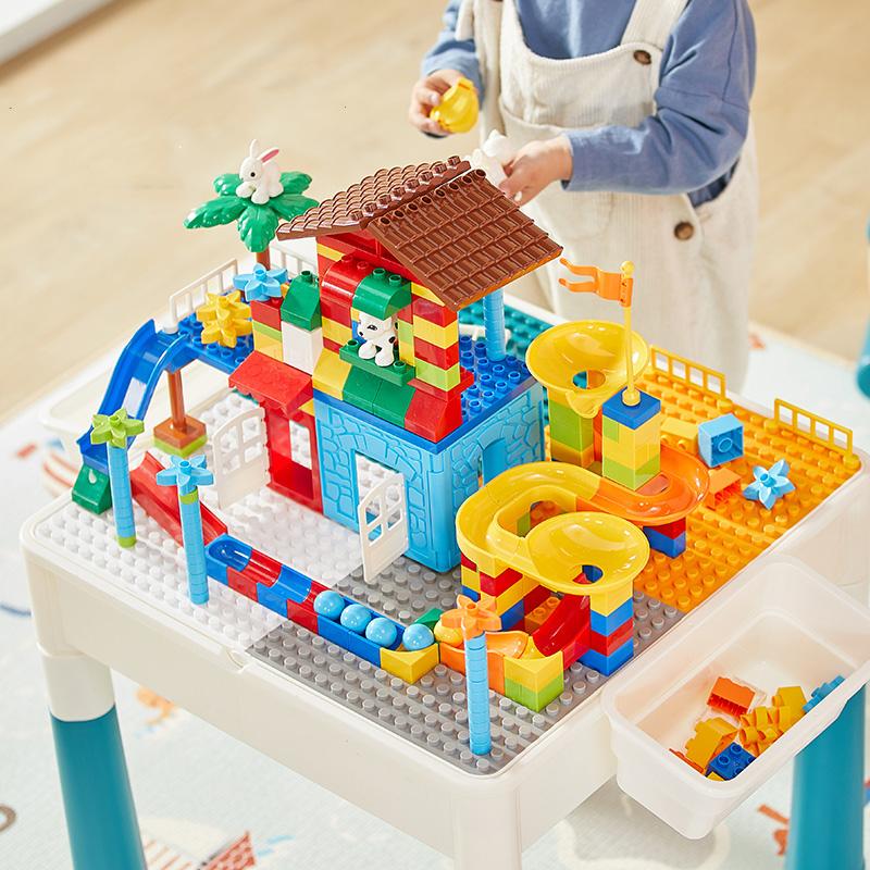 澳乐儿童积木桌多功能宝宝拼装益智玩具大颗粒男女孩3-6周岁桌子