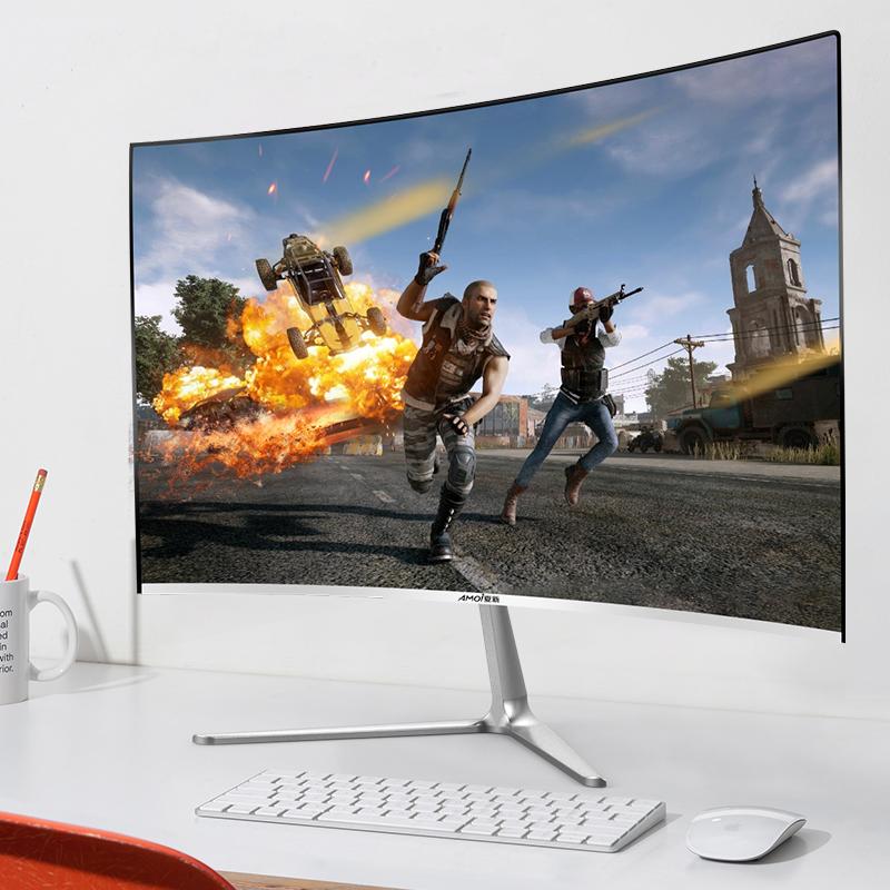 夏新24英寸超薄曲面高清护眼显示器办公家用网吧台式电脑IPS4屏幕