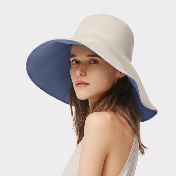 蕉下防晒帽女双面百搭渔夫帽大帽檐遮脸太阳帽子夏防紫外线遮阳帽