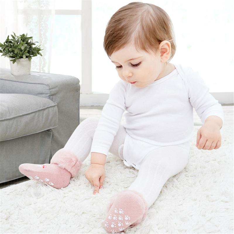 婴儿袜子秋冬季纯棉加绒加厚保暖超厚冬天儿童棉袜新生宝宝中筒袜