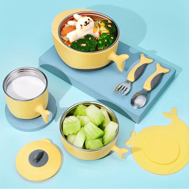 汤氏逗叮儿童餐具套装婴儿316不锈钢辅食碗宝宝碗勺吸盘注水保温