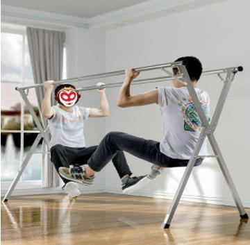 不锈钢晾衣架落地折叠室内双杆式阳台挂衣架伸缩X型晾衣架晒被子