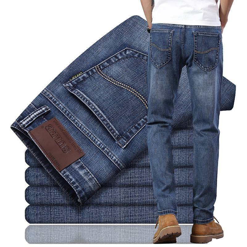 ENKOMLEE秋季加绒加厚牛仔裤男裤子直筒透气男士宽松韩版潮流长裤